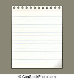 notepad, vector, blad, leeg