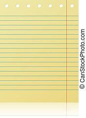 notepad, vrijstaand, gele, achtergrond., witte , gevoerde pagina