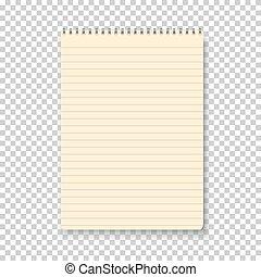 notepad, vrijstaand, gele, vector, bac, photorealistic, transparant