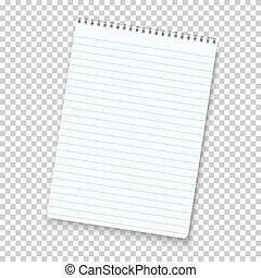 notepad, vrijstaand, vector, achtergrond, photorealistic, ...
