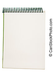 Notepad with green cover and spiral. File contains clipping path.