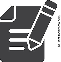 Notepad with a pencil icon in black on a white background. Vector illustration