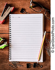Notepad with a spiral binding on wo