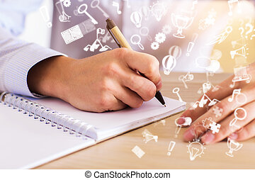 Notepad with abstract communication icons