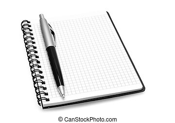 Notepad with ball pen on a white background