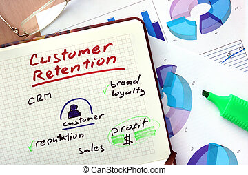 Notepad with customer retention - Notepad with word customer...