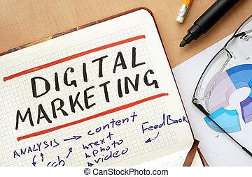 Notepad with digital marketing