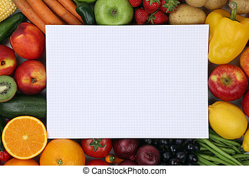Notepad with fresh fruits, vegetables copyspace
