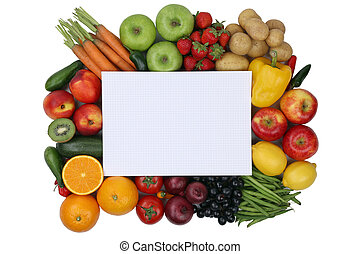 Notepad with fruits and vegetables with copyspace