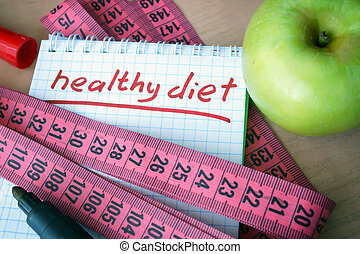Notepad with healthy diet