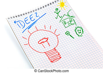 """notepad with idea - a notepad with the word """"idea"""". ..."""