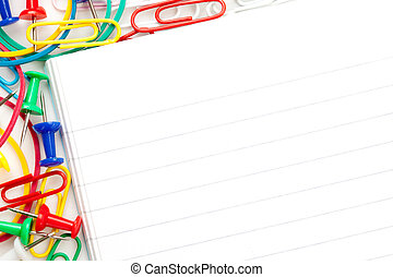 Notepad with large group of muti coloured stationery