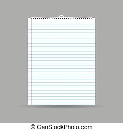 Notepad with lines and shadow on gray background