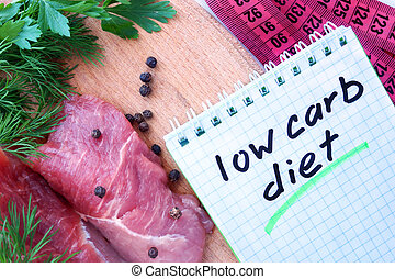 Notepad with low carb diet