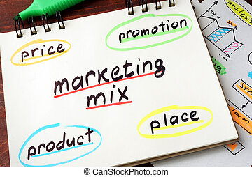 Notepad with marketing mix