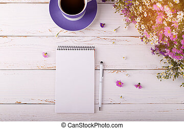 Notepad with pen coffee and flowers - Notepad with pen, cup...