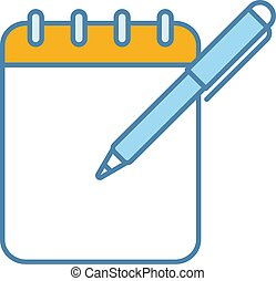 Notepad with pen color icon