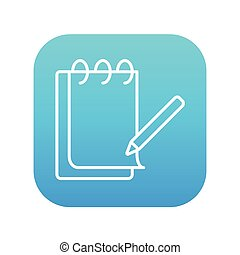 Notepad with pencil line icon.