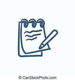 Notepad with pencil sketch icon.