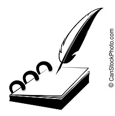 Notepad with quill - Ring notepad with quill in vector...