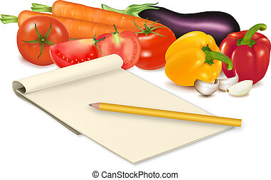 Notepad with recipe, garlic, tomato and some vegetables with pencil on table. Vector