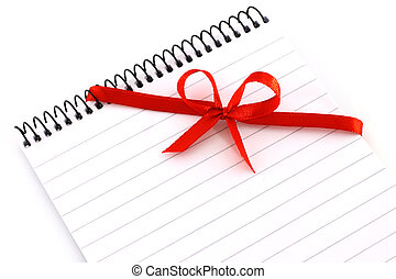 Notepad with red bow