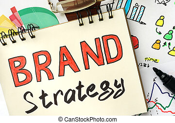 Brand Strategy - Notepad with sign Brand Strategy on a...