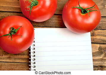 Notepad with tomatoes