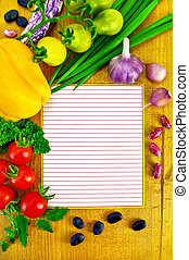Notepad with vegetables and beans