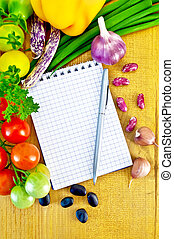 Notepad with vegetables