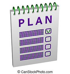 Notepad with word plan. 3D rendering.