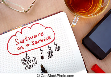 SaaS software as a service - Notepad with word SaaS software...