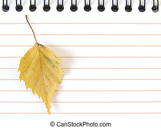 notepad with yellow leaf