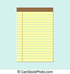 Notepad with yellow sheets icon. Vector illustration