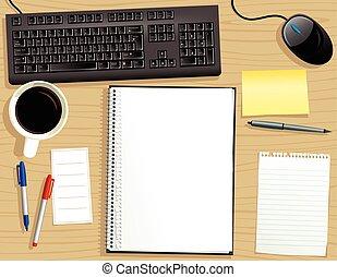 notepad.eps, cima, limite, anello, scrivania