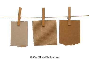 notepads, clothespins