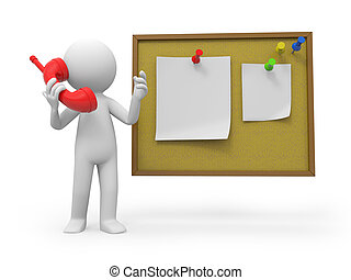 notepaper - A 3d people making a phone call at the note