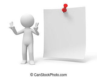 notepaper - A 3d people making a %u201CV%u201Dgesture at a...