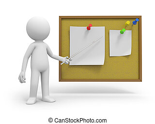 notepaper - A 3d people pointing at the notes with a stick