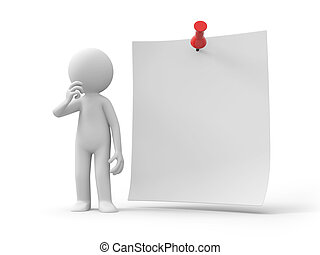 notepaper - A 3d people thinking at the note/ message/ file