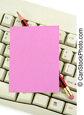 notepaper and keyboard