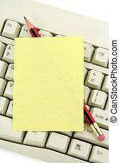 notepaper, e, teclado