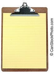 notepaper, klembord, gele