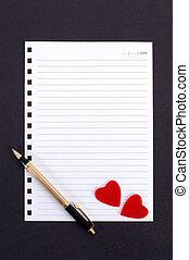 notepaper - note for lover on black