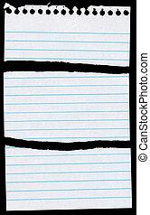 notepaper, página, rasgado, en, 3, pedazos, aislado, en, black.