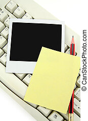 notepaper, photo and keyboard, communication concept