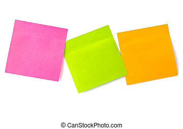 notepaper postit - three color adhesive-message on a white...