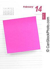 notepaper sticking on calendar - blank notepaper sticking on...