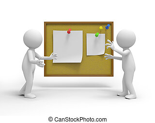 notepaper - Two 3d people talking , the notes board...