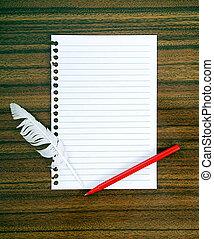 notepaper, y, pluma blanca, pen., rendición, batido,...